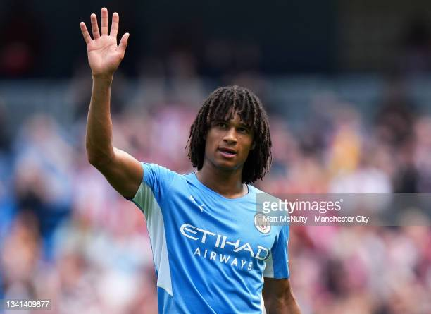 Nathan Ake of Manchester City waves to the fans during the Premier League match between Manchester City and Southampton at Etihad Stadium on...