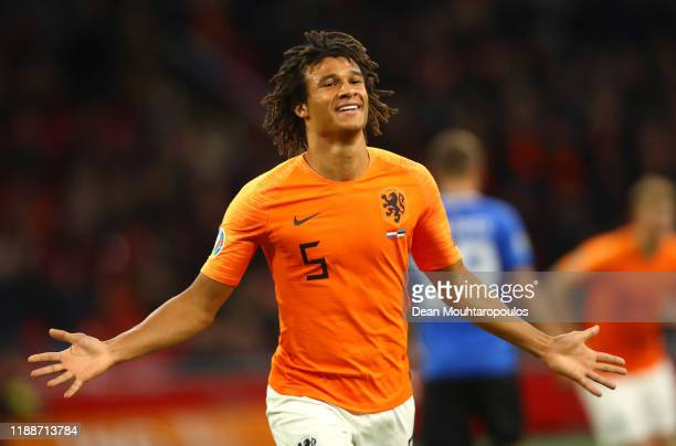 Nathan Ake of The Netherlands celebrates after scoring his team's second goal during the UEFA Euro 2020 Qualifier between The Netherlands and Estonia...