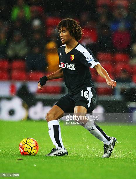 Nathan Ake of Watford controls the ball during the Barclays Premier League match between Sunderland and Watford at The Stadium of Light on December...