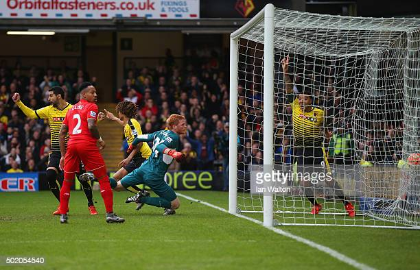 Nathan Ake of Watford turns to celebrate as he scores their first goal past goalkeeper Adam Bogdan of Liverpool during the Barclays Premier League...