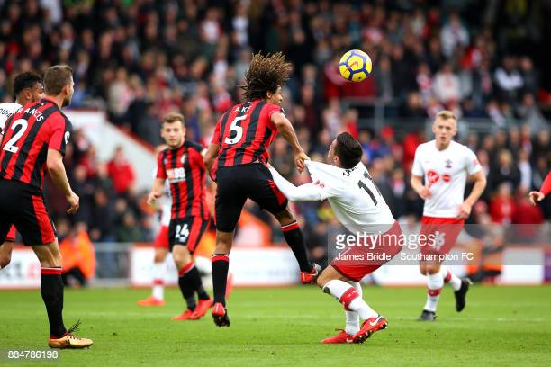 Nathan Ake takes on Southampton FCÕs Dusan Tadi during the Premier League match between AFC Bournemouth and Southampton at Vitality Stadium on...