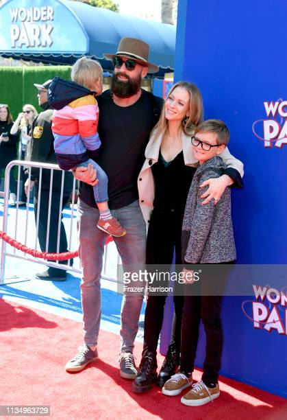 Nathan Andersen and AJ Cook with their children Phoenix Sky Andersen and Mekhai Allan Andersen attend the premiere of Paramount Pictures' 'Wonder...