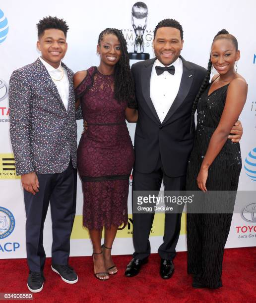 Nathan Anderson Alvina Stewart actor Anthony Anderson and Kyra Anderson arrive at the 48th NAACP Image Awards at Pasadena Civic Auditorium on...