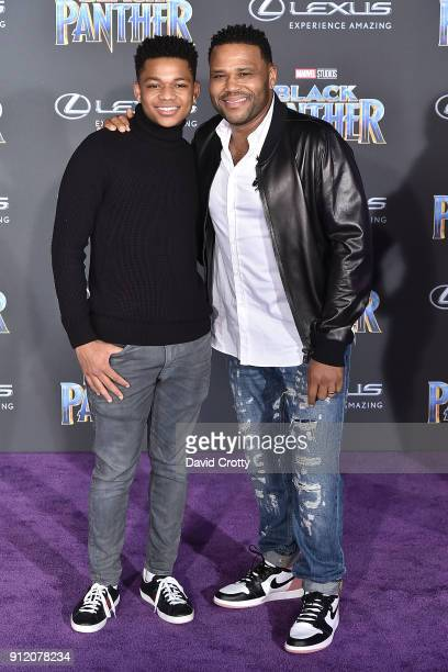 Nathan Anderson and Anthony Anderson attend the Premiere Of Disney And Marvel's 'Black Panther' Arrivals on January 29 2018 in Hollywood California