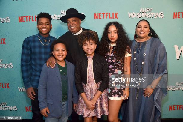 Nathan Anderson Maceo Smedley Rev Run Leah Rose Randall Kiana Lede' and Justine Simmons attend a screening of Netflix's 'All About The Washingtons'...