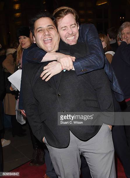 Nathan Azmi and Ricky Wilson attend the World Premiere of 'End Of Longing' written by and starring Matthew Perry at Playhouse Theatre on February 11...