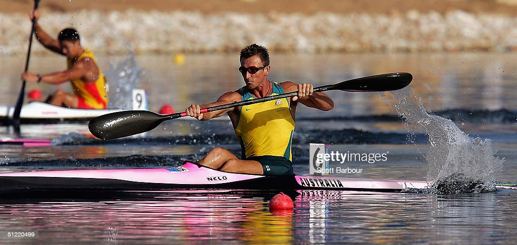 Nathan Baggaley of Australia in action during the men's K-1 500 metre semifinal on August 26, 2004 during the Athens 2004 Summer Olympic Games at the Schinias Olympic Rowing and Canoeing Centre in Athens, Greece.