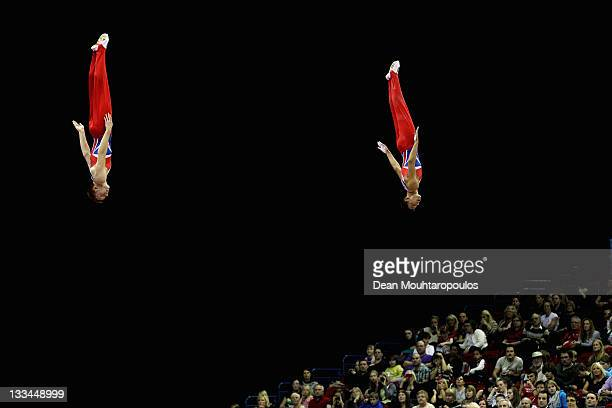 Nathan Bailey and Luke Strong of Great Britain compete in the Synchronized Trampoline Mens Qualification during the 28th Trampoline and Tumbling...