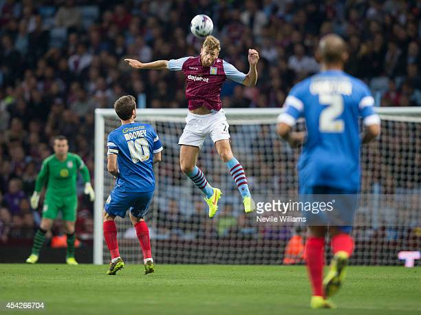 Nathan Baker of Aston Villa during the Capital One Cup second round match between Aston Villa and Leyton Orient at Villa Park on August 27 2014 in...