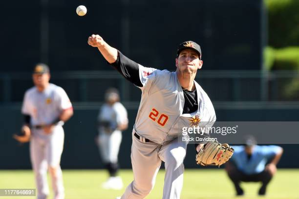 Nathan Bates of the Mesa Solar Sox pitches against the Glendale Desert Dogs at Camelback Ranch on Tuesday October 15 2019 in Glendale Arizona
