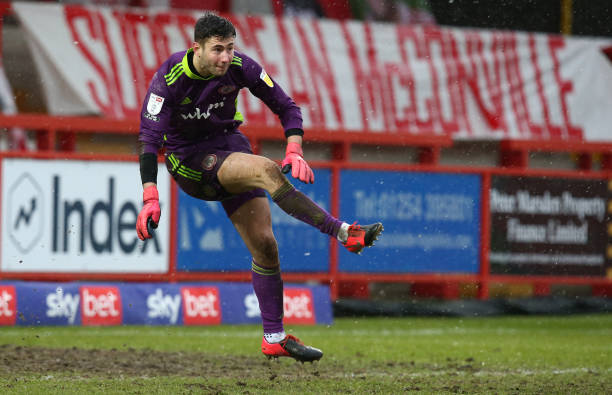 Nathan Baxter of Accrington Stanley in action during the Sky Bet League One match between Accrington Stanley and Northampton Town at The Wham Stadium...