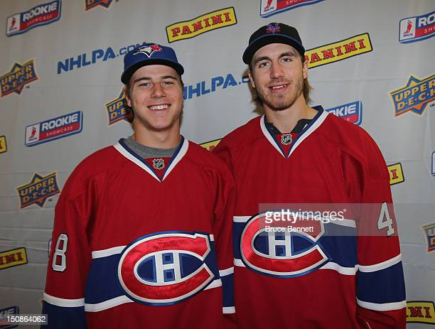 Nathan Beaulieu and Jarred Tinordi of the Montreal Canadiens meet with the media at the 2012 NHLPA rookie showcase at the MasterCard Centre on August...