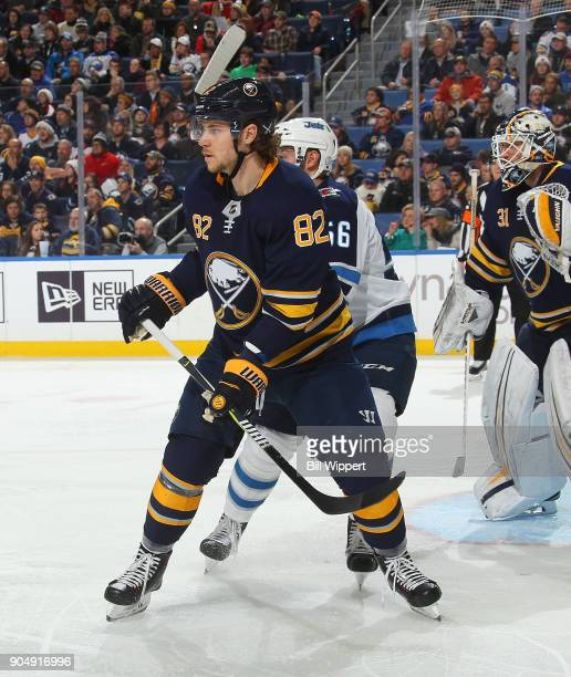 Nathan Beaulieu of the Buffalo Sabres defends against the Winnipeg Jets during an NHL game on January 9 2018 at KeyBank Center in Buffalo New York