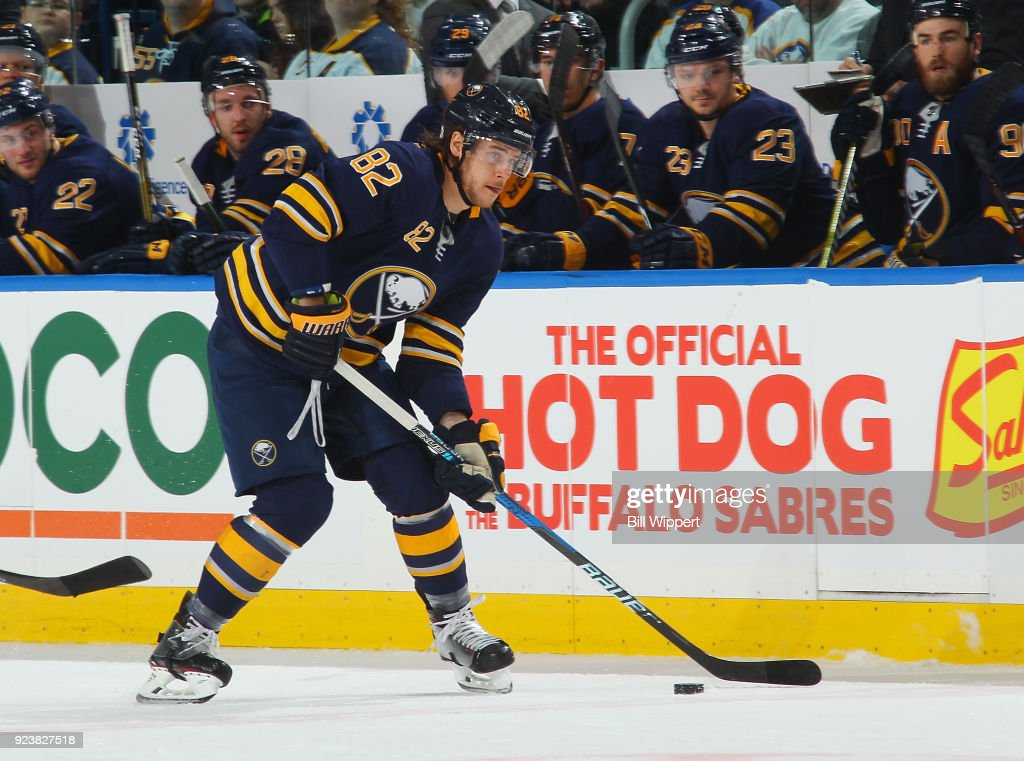 d085f4c403b Nathan Beaulieu of the Buffalo Sabres shoots the puck during an NHL ...