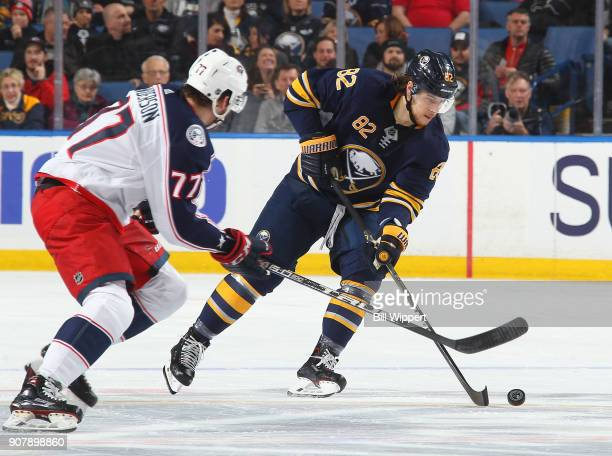 Nathan Beaulieu of the Buffalo Sabres skates during an NHL game against the Columbus Blue Jackets on January 11 2018 at KeyBank Center in Buffalo New...