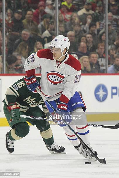 Nathan Beaulieu of the Montreal Canadiens controls the puck against the Minnesota Wild during the first period of the game on January 12 2017 at Xcel...