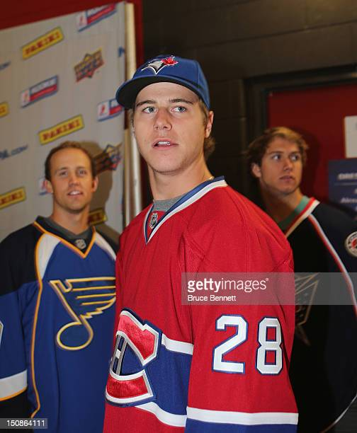 Nathan Beaulieu of the Montreal Canadiens meets with the media at the 2012 NHLPA rookie showcase at the MasterCard Centre on August 28 2012 in...