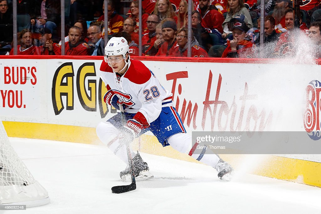 Nathan Beaulieu #28 of the Montreal Canadiens skates against the Calgary Flames during an NHL game at Scotiabank Saddledome on October 30, 2015 in Calgary, Alberta, Canada.