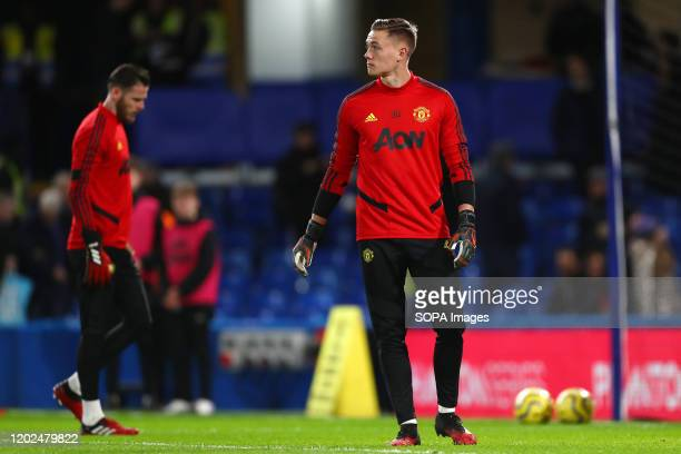 Nathan Bishop and David De Gea during the Premier League match between Chelsea and Manchester United at Stamford Bridge Final Score Chelsea 02...