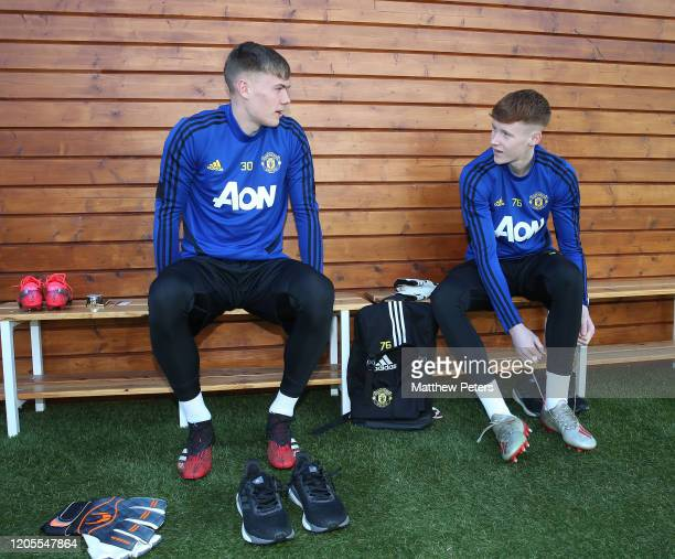 Nathan Bishop and Jacob Carney of Manchester United in action during first team training session on February 11 2020 in Malaga Spain