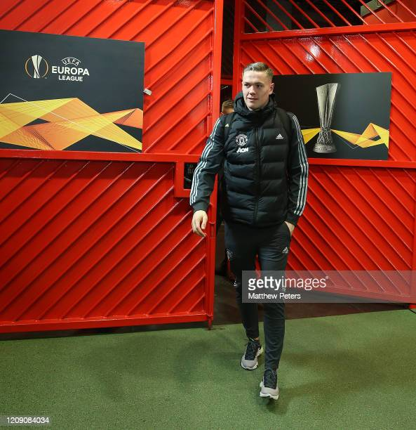 Nathan Bishop of Manchester United arrives ahead of the UEFA Europa League round of 32 second leg match between Manchester United and Club Brugge at...