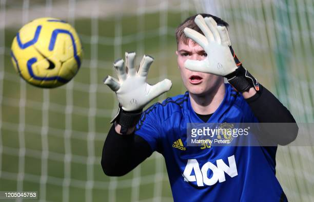 Nathan Bishop of Manchester United in action during a first team training session on February 09 2020 in Malaga Spain