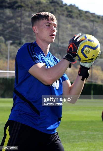 Nathan Bishop of Manchester United in action during a first team training session on February 12 2020 in Malaga Spain