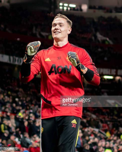 Nathan Bishop of Manchester United warms up ahead if the Premier League match between Manchester United and Wolverhampton Wanderers at Old Trafford...