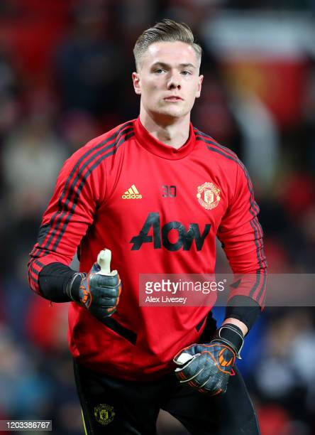 Nathan Bishop of Manchester United warms up prior to the Premier League match between Manchester United and Wolverhampton Wanderers at Old Trafford...