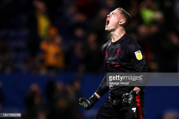 Nathan Bishop of Mansfield Town celebrates after their side's first goal during the Sky Bet League Two match between Mansfield Town and Port Vale at...