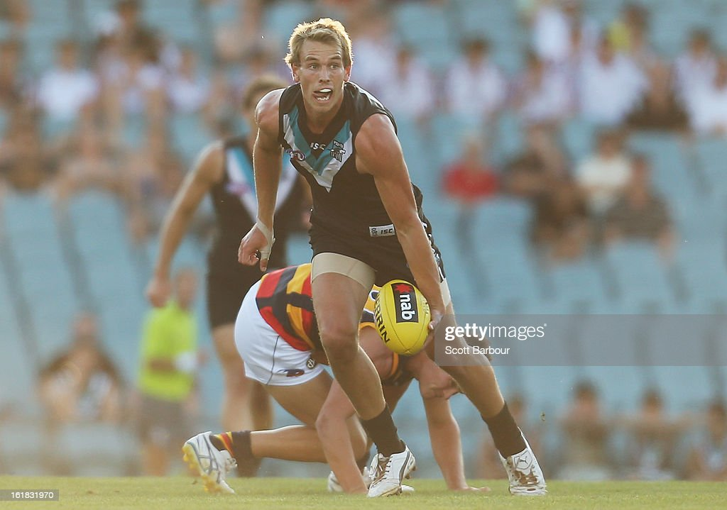 Nathan Blee of the Power looks to pass the ball during the round one AFL NAB Cup match between the Adelaide Crows and the Port Adelaide Power at AAMI Stadium on February 17, 2013 in Adelaide, Australia.