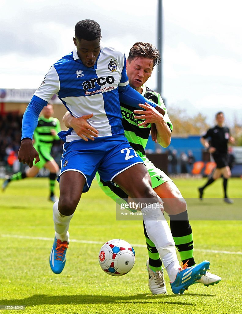 Nathan Blissett of Bristol holds off pressure from James Jennings of Forest Green during the Vanarama Football Conference League Play Off Semi Final Second Leg between Bristol Rovers and Forest Green Rovers at Memorial Stadium on May 3, 2015 in Bristol, England.