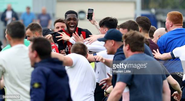 Nathan Blissett of Macclesfield Town celebrates with fans after the Vanarama National League match between Eastleigh and Macclesfield Town at...