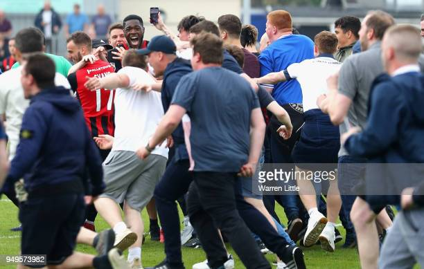 Nathan Blissett of Macclesfield Town celebrates with fans after the Vanarama National League match between Eastleigh v Macclesfield Town at the...
