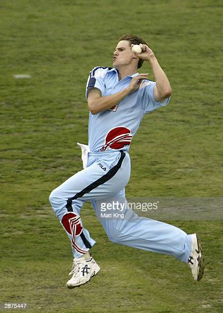 Nathan Bracken of the Blues in action during the ING Cup Cricket match between the NSW Blues and the Queensland Bulls held at Telstra Stadium January...