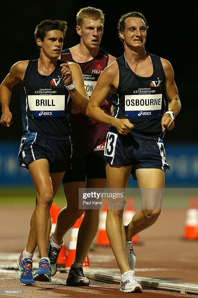 Nathan Brill of Victoria, Brad Aiton of Queensland and Jesse Osborne of Victoria compete in the Men's under 20 10000 metre race walk during day one of the Australian Junior Championships at the WA Athletics Stadium on March 12, 2013 in Perth, Australia.
