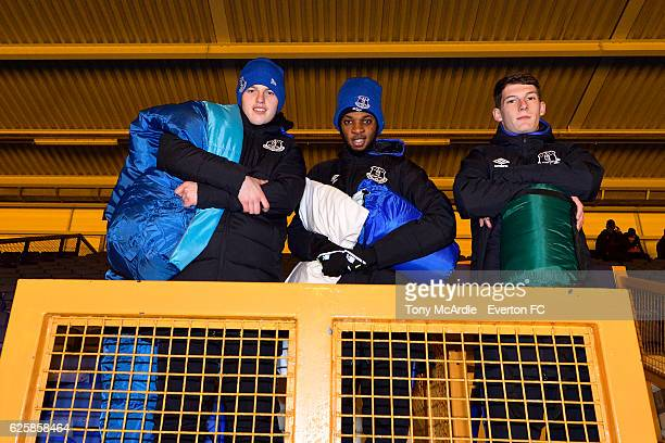 Nathan Broadhead Beni Baningime and Matty Foulds prepare for the Everton in the Community Sleepover Event at Goodison Park on November 25 2016 in...