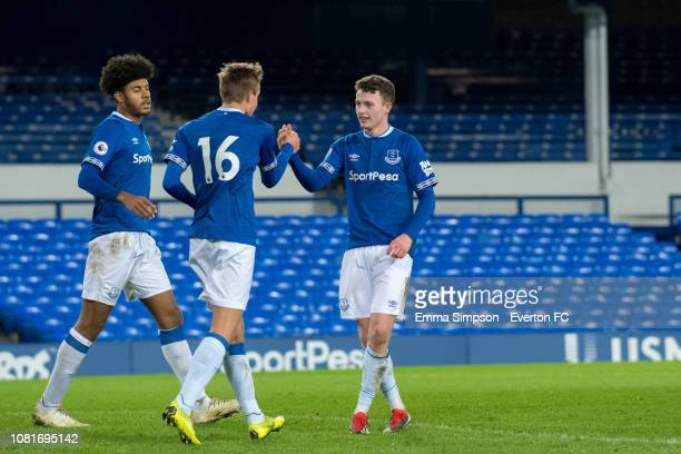 Nathan Broadhead celebrates equaliser with team mates at Goodison Park on December 12 2018 in Liverpool England