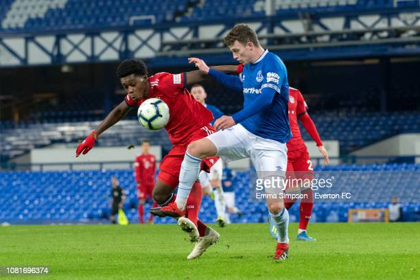 Nathan Broadhead fights for the ball at Goodison Park on December 12 2018 in Liverpool England