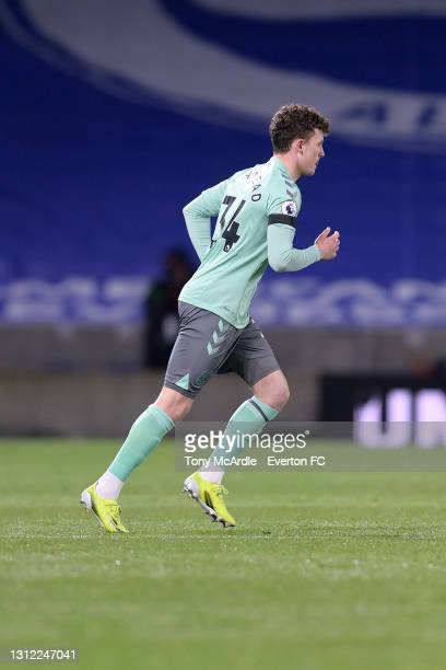Nathan Broadhead of Everton during the Premier League match between Brighton and Hove Albion and Everton at the American Express Community Stadium on...