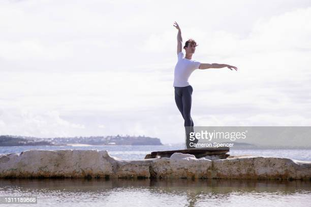 Nathan Brook poses for a portrait at Fairy Bower Rock Pool on April 07, 2021 in Sydney, Australia. Nathan Brook, a soloist with the Australian...