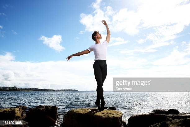 Nathan Brook poses for a portrait at Shelly Beach on April 07, 2021 in Sydney, Australia. Nathan Brook, a soloist with the Australian Ballet, has...