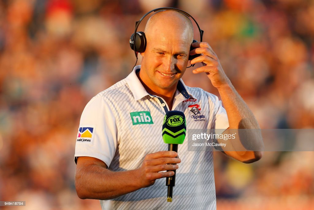 Nathan Brown head coach of the Knights is interviewed prior to the round seven NRL match between the Wests Tigers and the Newcastle Knights at Scully Park on April 21, 2018 in Tamworth, Australia.