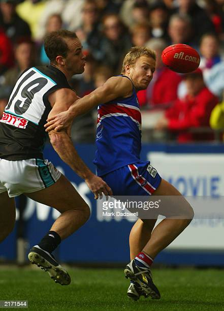 Nathan Brown of the Bulldogs contests for the ball with Matthew Bishop of the Power during the round 15 AFL match between the Western Bulldogs and...