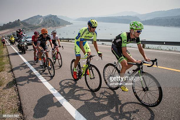 Nathan Brown of the Cannondale-Garmin Pro Cycling Team leads eventual stage winner Roman Kreuziger of the Tinkoff-Saxo Pro Cycling Team while in the...