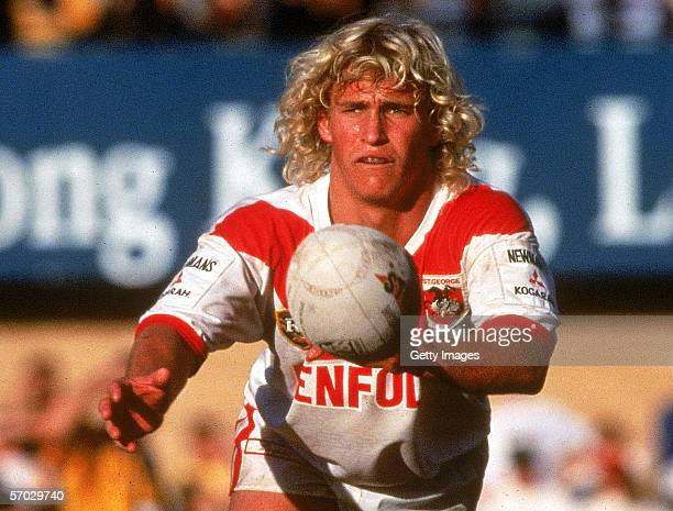 Nathan Brown of the Dragons passes the ball during a Australian Rugby League match held in Sydney Australia Brown's playing record 171 First Grade...
