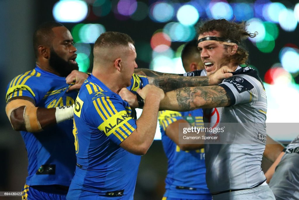 Nathan Brown of the Eels and Ethan Lowe of the Cowboys have an altercation during the round 14 NRL match between the Parramatta Eels and the North Queensland Cowboys at TIO Stadium on June 10, 2017 in Darwin, Australia.