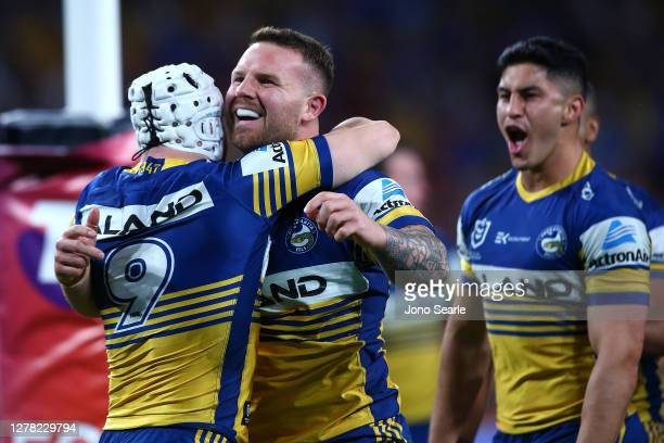 Nathan Brown of the Eels celebrates a try during the NRL Qualifying Final match between the Melbourne Storm and the Parramatta Eels at Suncorp...