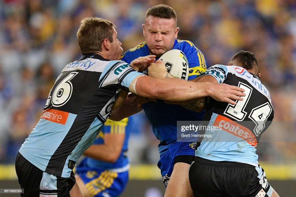 Nathan Brown of the Eels is tackled during the round four NRL match between the Parramatta Eels and the Cronulla Sharks at ANZ Stadium on March 25, 2017 in Sydney, Australia.
