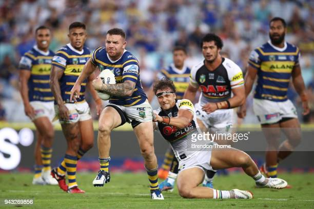 Nathan Brown of the Eels runs the ball during the round five NRL match between the Parramatta Eels and the Penrith Panthers at ANZ Stadium on April 8...